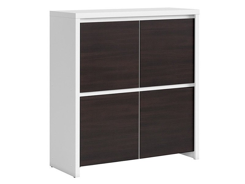 Kaspian White + Wenge 4 Door Storage Cabinet - Contemporary furniture collection