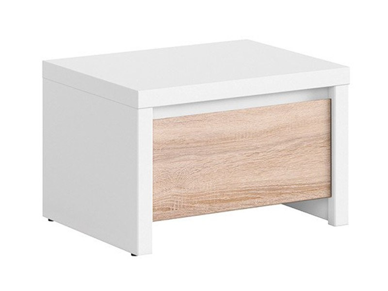 Kaspian White + Oak Sonoma Nightstand - Contemporary furniture collection