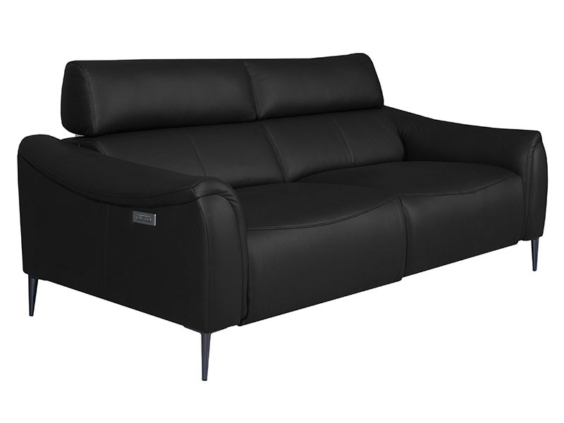 Des Sofa Milano 3TVE - Dollaro Nero - Double power recliner