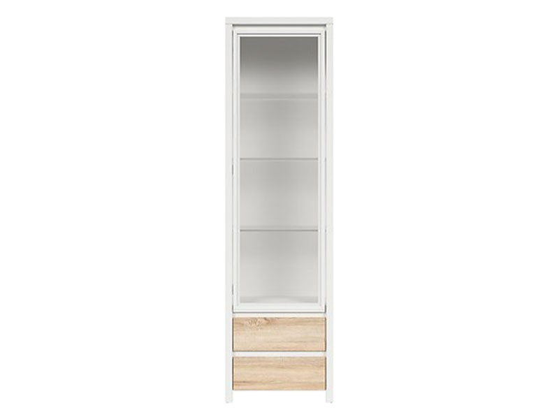 Kaspian White + Oak Sonoma Single Display Cabinet - Contemporary furniture collection