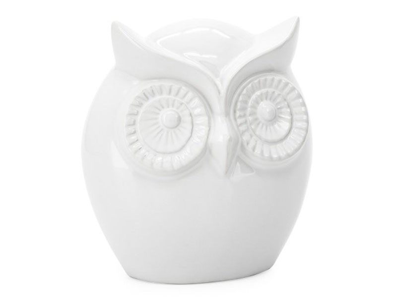 Torre & Tagus Small Wise Owl - Ceramic Decor Sculpture - White