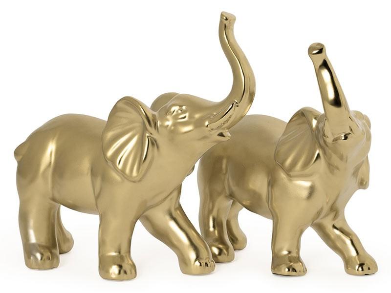 Torre & Tagus Proud Elephants Gold Ceramic - 2 Piece Decor Sculpture Set