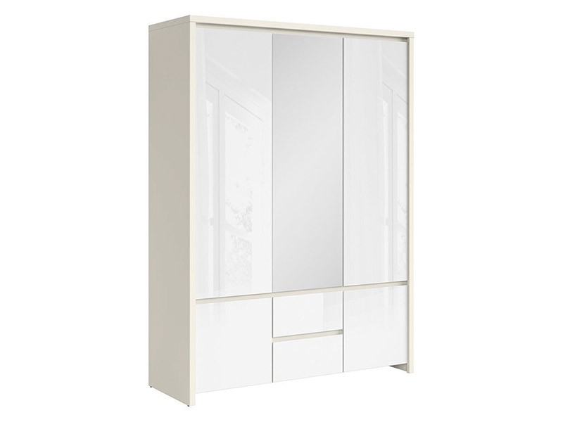 Kaspian White Matte + Glossy 5 Door Wardrobe - Contemporary furniture collection
