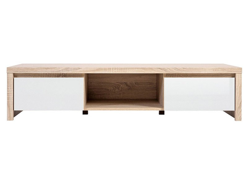Kaspian Oak Sonoma + Glossy White Tv Stand - Contemporary furniture collection