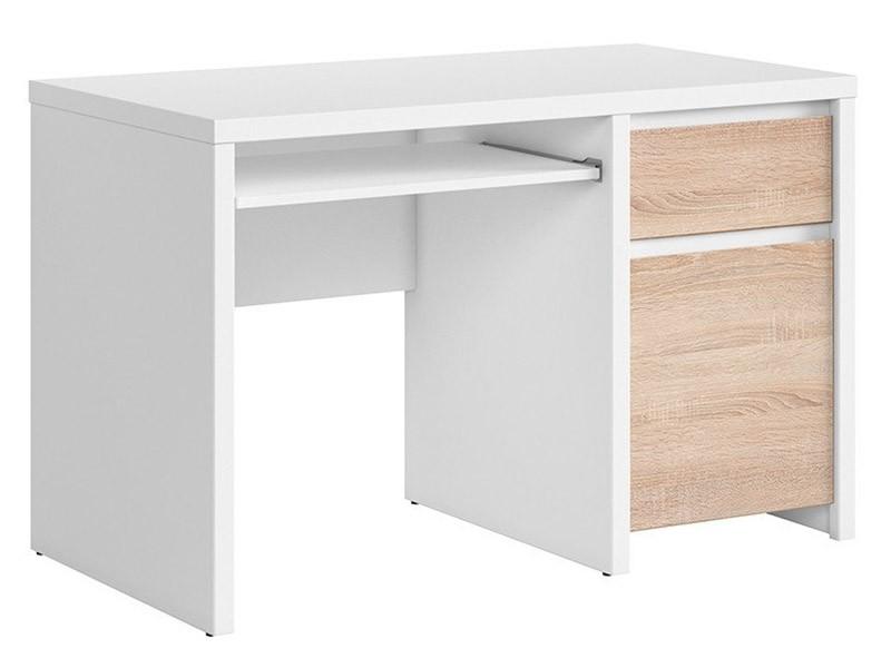 Kaspian White + Oak Sonoma Desk 120 - Sturdy desk