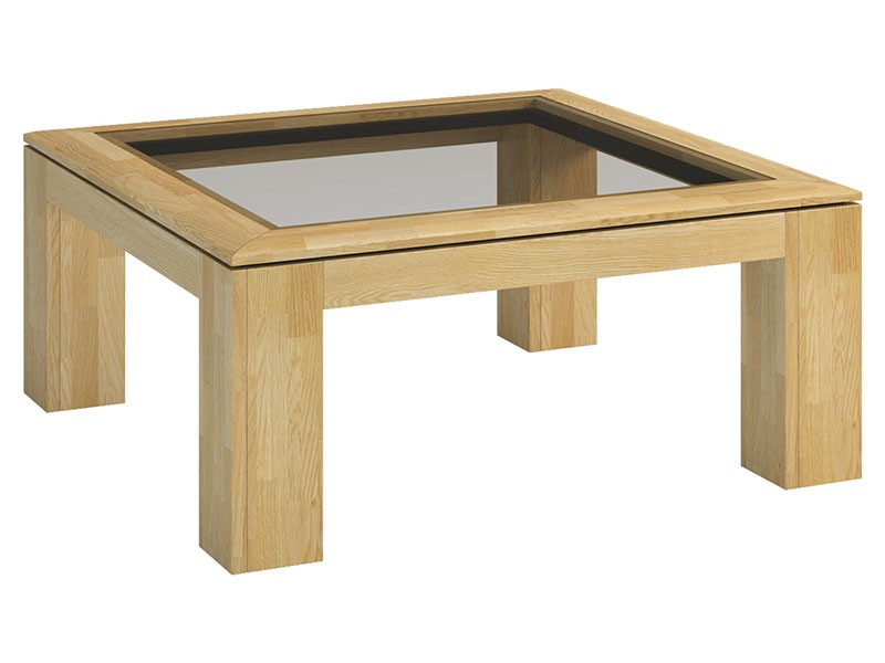 Mebin Rossano Square Coffee Table With Glass Oak Bianco - High-quality European furniture