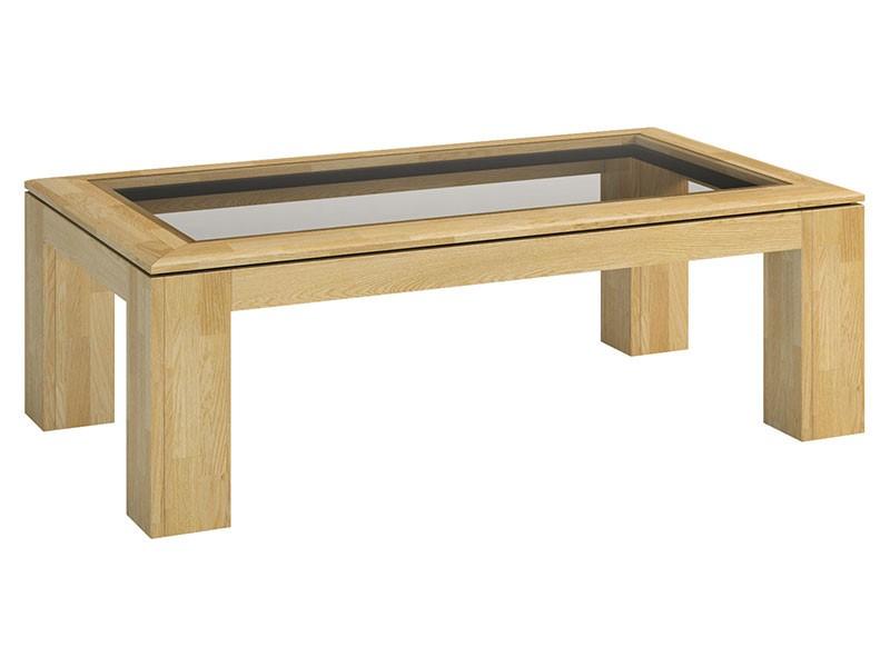 Mebin Rossano Coffee Table With Glass Oak Bianco - High-quality European furniture