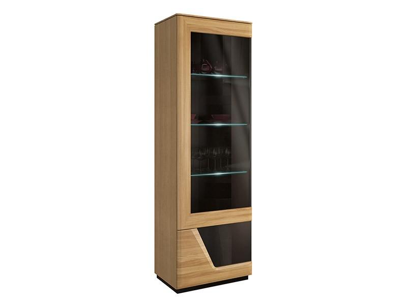 Mebin Smart Single Display Cabinet Left Natural Oak - Solid oak fronts