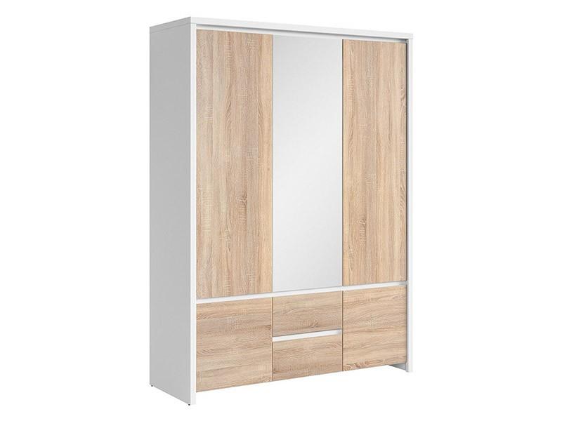 Kaspian White + Oak Sonoma 5 Door Wardrobe - Contemporary furniture collection