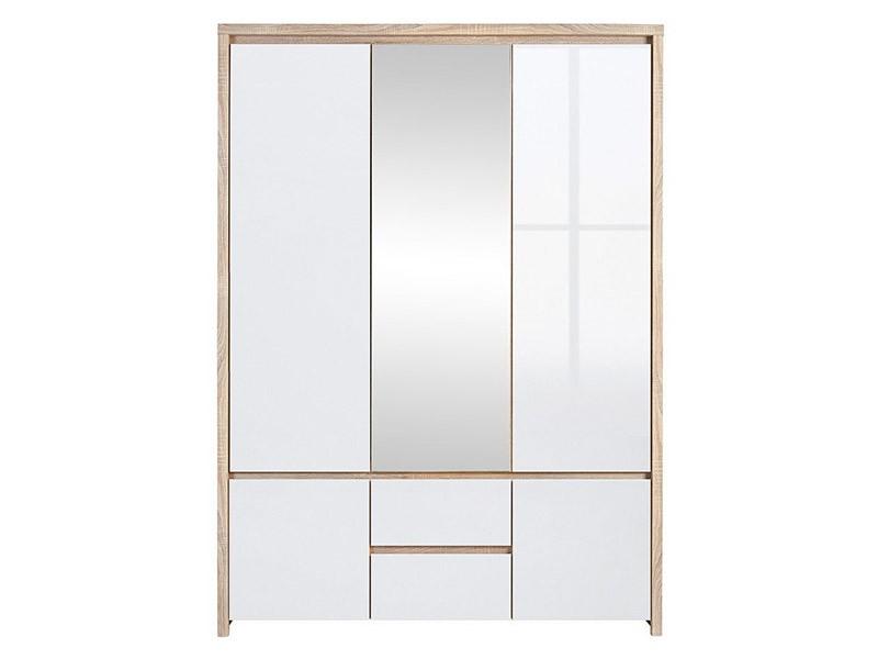 Kaspian Oak Sonoma + Glossy White 5 Door Wardrobe - Contemporary furniture collection